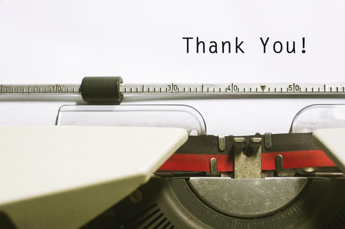 "Typewriter with words ""thank you"""