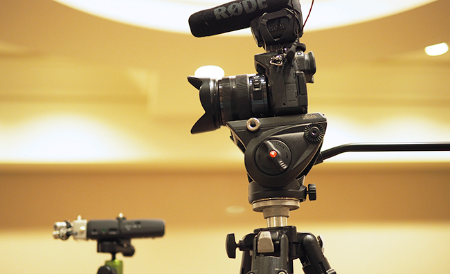 Video recording setup with camera and microphones